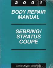 automotive service manuals 2001 chrysler sebring on board diagnostic system 2001 chrysler sebring and dodge stratus coupe factory body repair manual