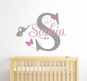 Custom elephant name wall decal for girls baby room for Funny elephant wall decals for nursery