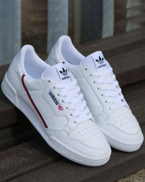 Adidas Continental 80 Trainers White/Red/Navy   80s casual ...