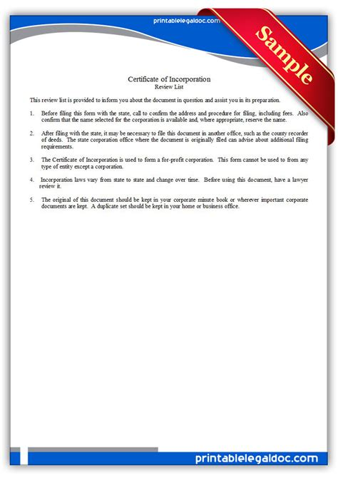 printable certificate  incorporation form generic