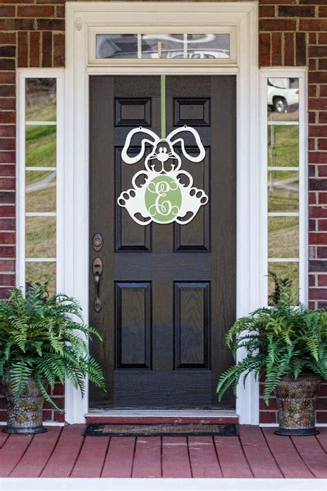 floppy easter monogram door hanger front door wreath easter bunny door wreath door monogram