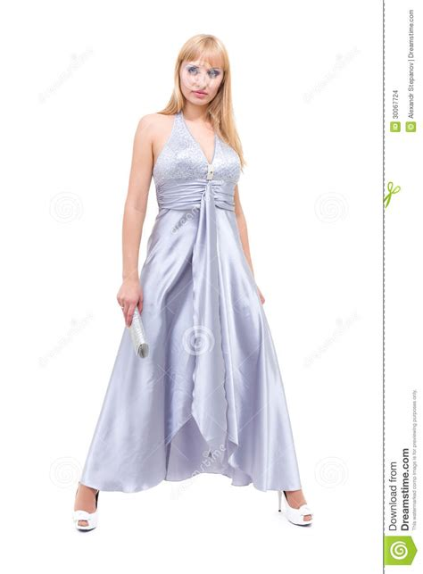 elegant young woman  evening dress stock images image