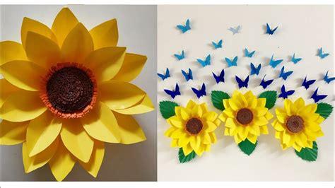 Best 25 paper wall decor ideas on pinterest diy wall flowers via pinterest.com. Giant Paper Sunflower DIY   Paper Sunflower Wall hanging   Room Decor ideas - YouTube   Paper ...