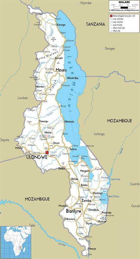 detailed clear large road map of malawi ezilon maps