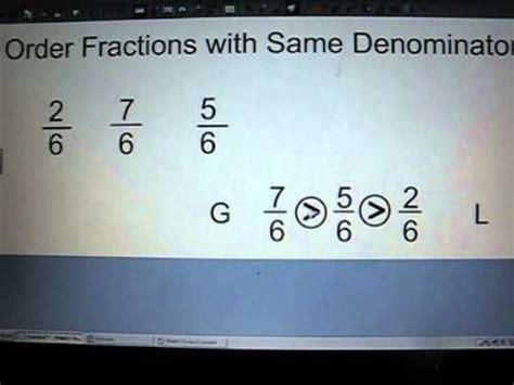 order fractions    denominator youtube