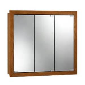 nutone 740647 tri view honey oak wood medicine cabinet
