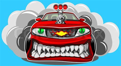 Vector Illustration Of A Sports Car In A Cartoon Style