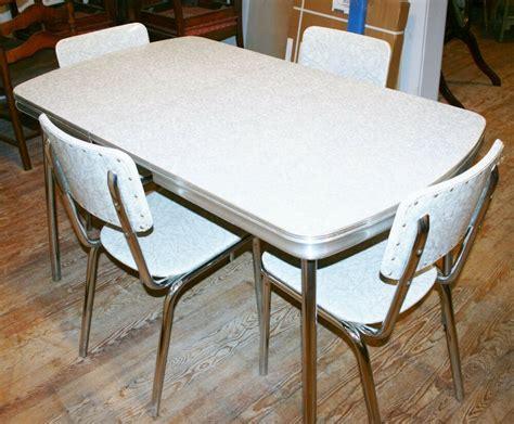 vintage  kitchen dinette set table  chair silver