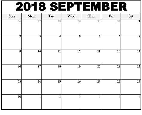calendar template september free september 2018 blank printable calendar template holidays 2018 national holidays