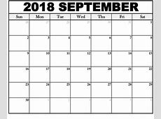 September 2018 Calendar Printable Templates Free July