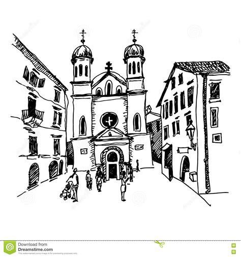 desenho de esboco preto  branco da igreja de saint