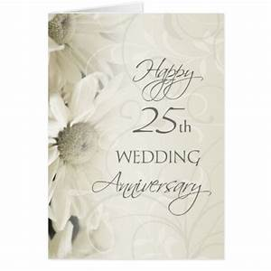 white flowers happy 25th wedding anniversary card zazzle With happy 25th wedding anniversary