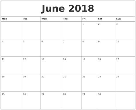 june   printable monthly calendar