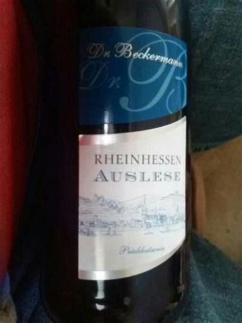 cuisine beckermann dr beckermann auslese rheinhessen wine info