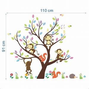 Stickers Arbre Photo : sticker arbre g ant avec singes et cureuils stickers nature arbres ambiance sticker ~ Teatrodelosmanantiales.com Idées de Décoration
