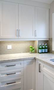 White shaker cabinets gray subway backsplash kashmir for Backsplash for white cabinets and grey countertops