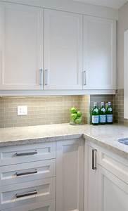 White shaker cabinets gray subway backsplash kashmir for Backsplash for white cabinets and grey countertops