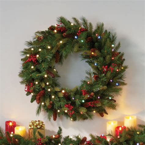 pre lit christmas cone berry battery operated wreath
