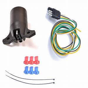 Plastic 7 Way Round To 4 Way Pin Flat Blade Trailer End Connector 12v American Standard Trailer