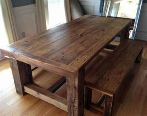 traditional barn wood dining room table with bench With barn board dining room tables