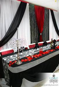 Red black and white wedding backdrop and head table | CC ...