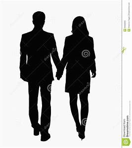 Silhouette Of Businessman And Businesswoman Holding Hands ...