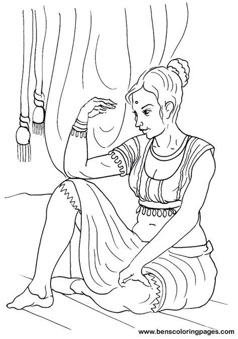 indian girl coloring page indian woman  sari coloring page  printable coloring