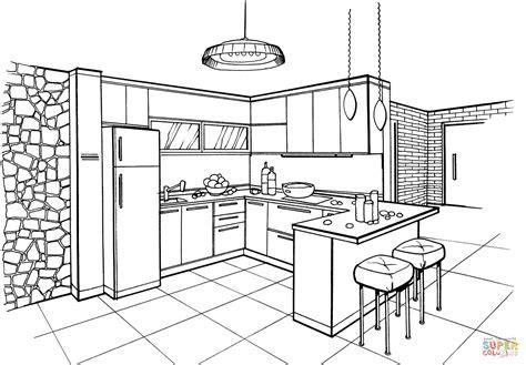 black formal dining room dibujo de cocina en estilo minimalista para colorear