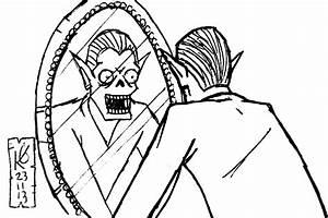 Cartoon Man Looking In Mirror Drawing Sketch Coloring Page
