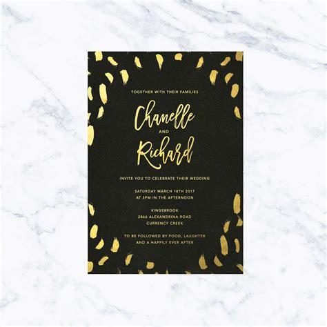 Modern Black Gold Foil Wedding Invitations Sail and Swan