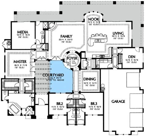 home plans with courtyard plan 16365md center courtyard views