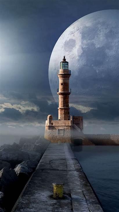 Lighthouse Moon Pier Sea Samsung Galaxy Lenovo