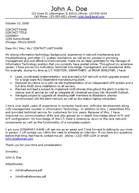 Cover Letter For Book by Technology Cover Letter Exle Information Technology