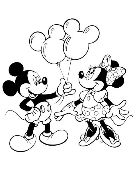 mickey giving minnie mouse balloons coloring page