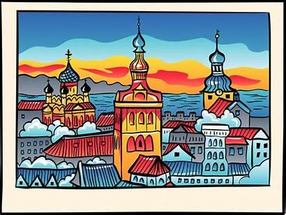 Medieval Tallinn Town Estland Night Estonia Middeleeuwse
