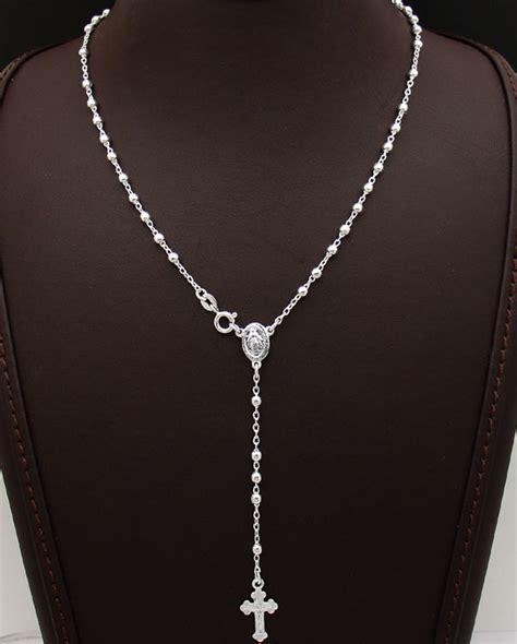 diamond cut bead ball rosary cross chain necklace