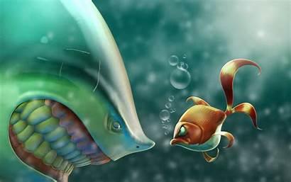 Fish Cartoon Shark Bubbles Situation Wallpapers Pesci