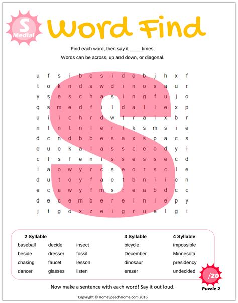 articulation word search puzzles  speech therapy practice