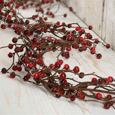 red and burgundy artificial berry garland pip berries