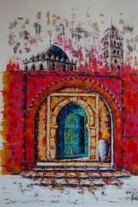 Tableau Porte Orientale : tableau peinture dessin porte marocaine une toile de keniz impression sur dibond verre ~ Teatrodelosmanantiales.com Idées de Décoration