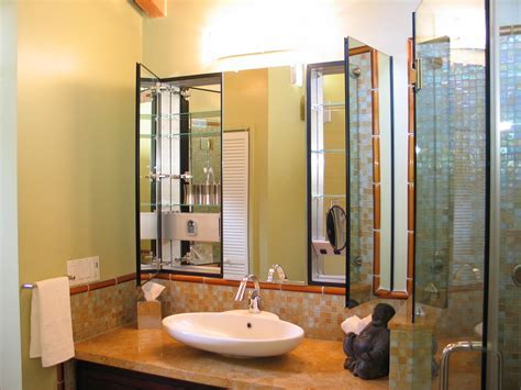 Gorgeous mirrored medicine cabinet in Bathroom Asian with