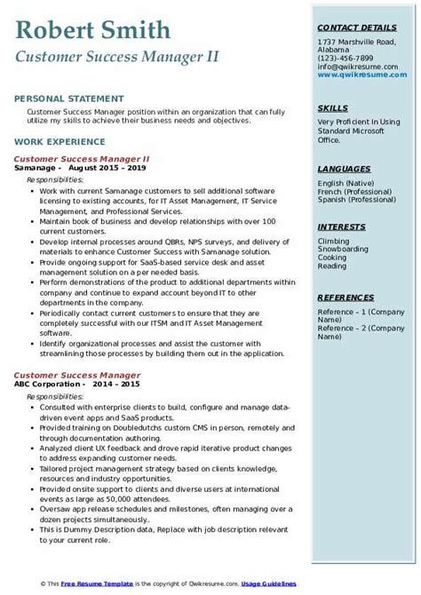 customer success manager resume samples qwikresume