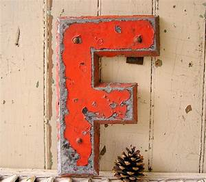vintage industrial metal letters letter f sign letter other With vintage tin letters
