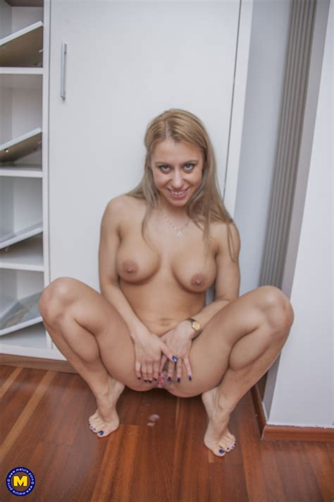 bosomed blonde mom nadina moans while riding thick dick