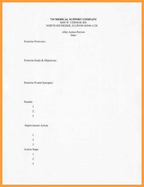 army aar template 8 9 army after review template slenotary