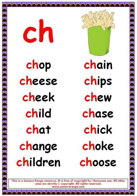 ch words  english phonics phonics phonics posters