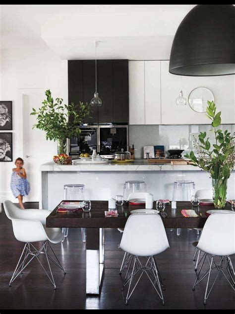 Kitchen Accessories Black And White by Black And White Kitchen With Glass Pendants Island