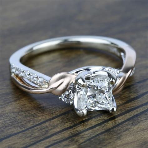 new leaves three stone diamond engagement ring in white and rose gold by parade