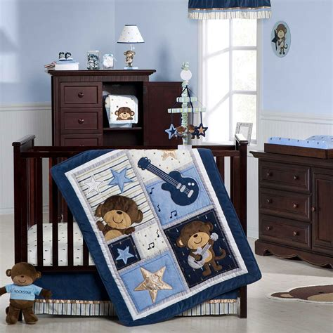 crib sets for boys s monkey rockstar 4 crib bedding set