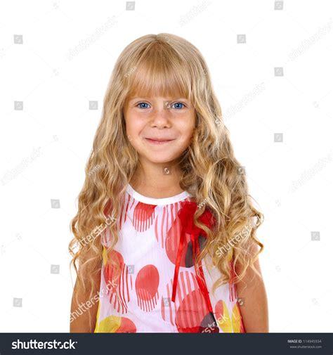 Beautiful Little Girl Long Blonde Hair Stock Photo